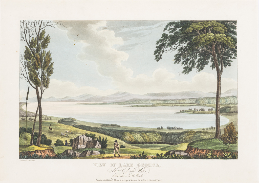 <span>Joseph Lycett</span>View of Lake George, New South Wales, from the north east 1825