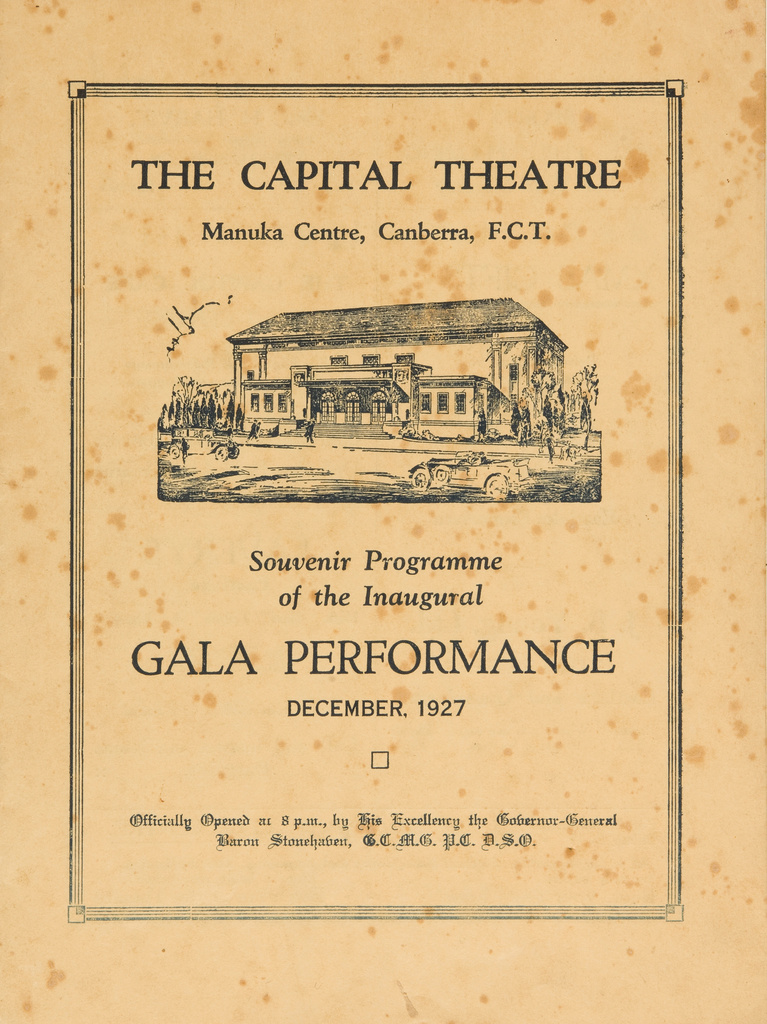 <span></span>Souvenir Programme for The Capital (sic) Theatre 1927