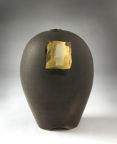 <span>Greg Daly</span>Quad vase with gold, silver leaf, enamel 2004