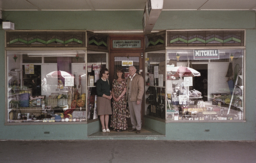 <span>unknown photographer</span>The O'Briens in front of their  shop on the Lawns, Manuka  c. 1980