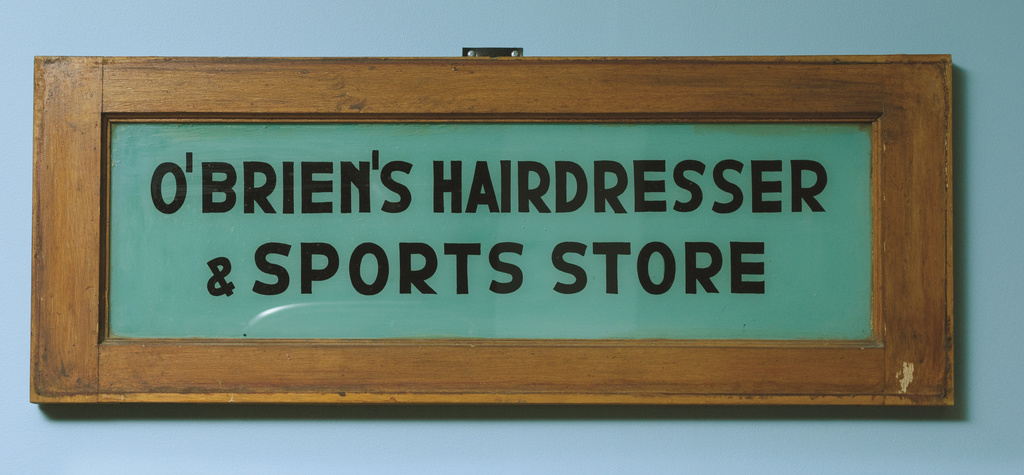 <span></span>Sign - O'Brien's Hairdresser  & Sports Store  1934