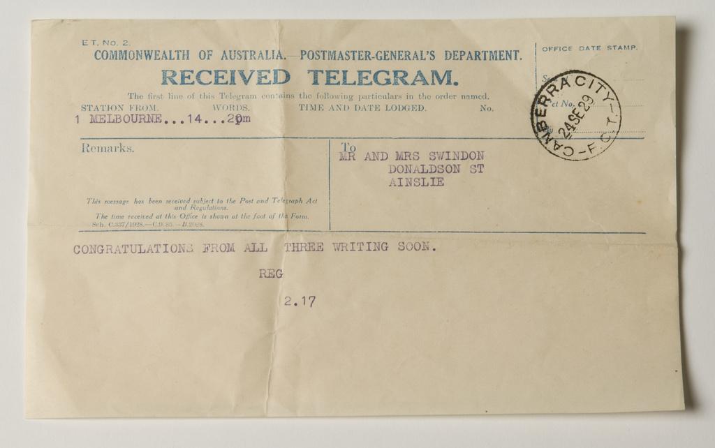 <span></span>Telegram c 1929