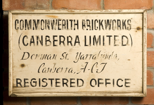 <span></span>Sign (Yarralumla Brickworks) Circa 1920