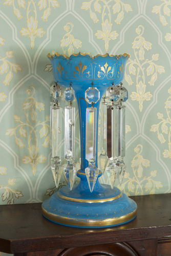 <span></span>Blue glass lustre vase  Circa 1860
